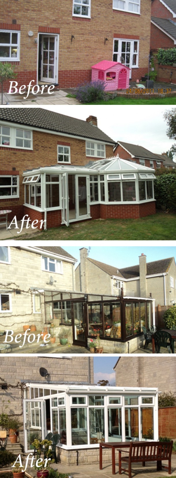 Top: Replacement conservatory in white with glass roof. <br><br>Bottom: New p shape conservatory in white.<br><br>Both fitted at a properties in Glastonbury and Somerton,  Somerset, by Turner Windows.